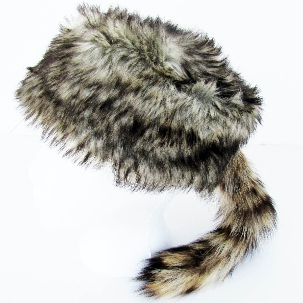 Raccoon Tail Hat Child Faux Fur Coonskin Cap Crockett Daniel Boone Costume