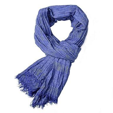 59e5444363ab Boomly Hommes Écharpe pompon Couleur unie Cache-cou L automne Hiver  Envelopper le châle Foulard (Bleu, 200   80 cm)  Amazon.fr  Vêtements et  accessoires
