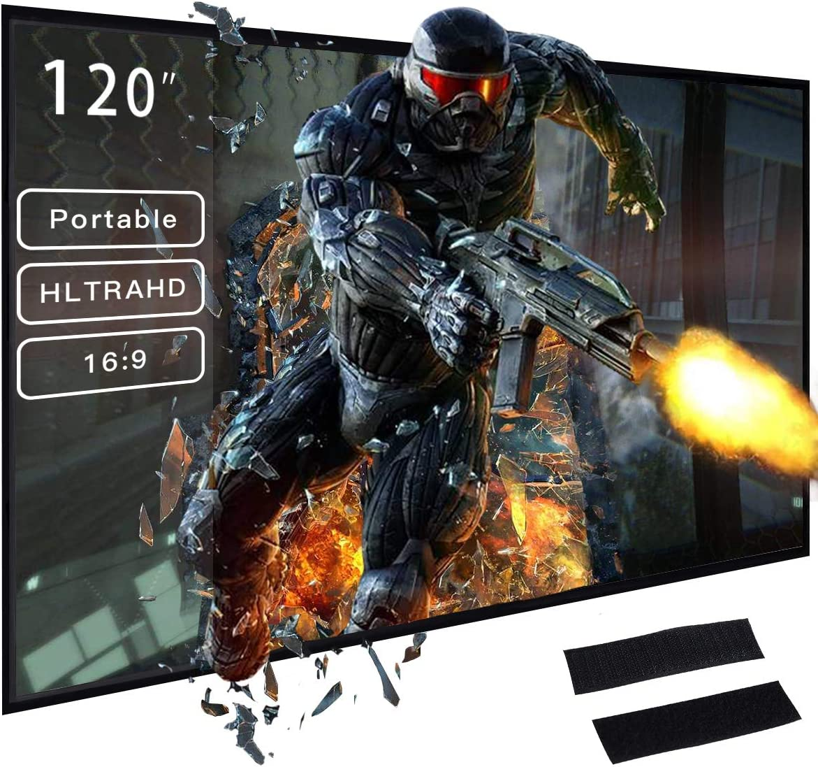 Safstar Foldable Indoor and Outdoor Projection Screen, 120 inch 16:9 Collapsible Movie Screen (Installed with Magic Tape)