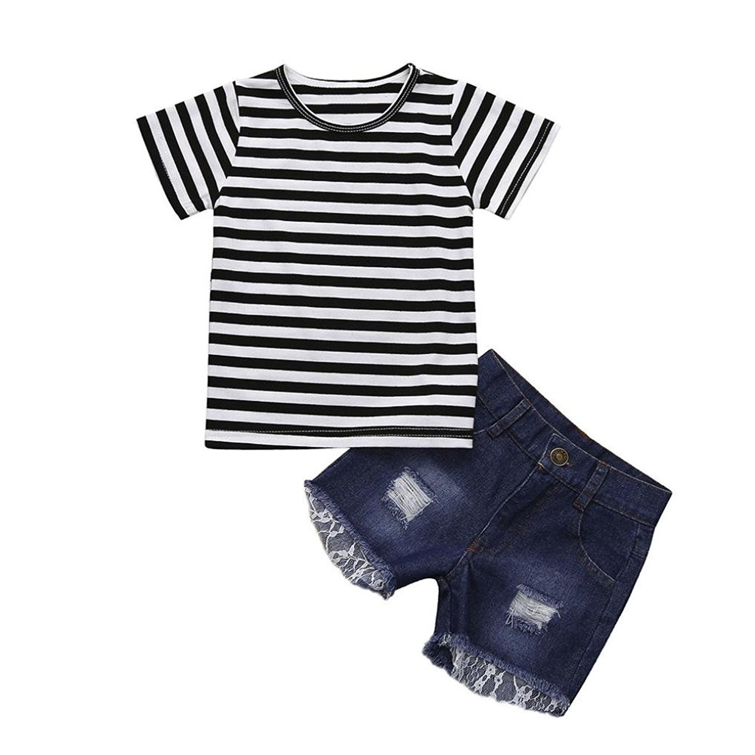 Webla Toddler Kids Baby Girls Striped Tops+Denim Shorts 2Pcs Outfits Clothes Set Ages 1-5 Years 2-3T