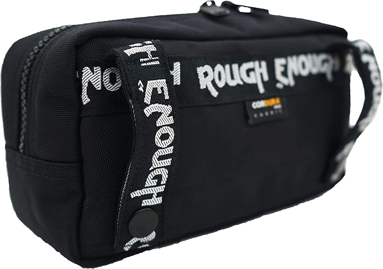Rough Enough Black Small Multi Tool Bag Pouch Storage Organiser for Mens Teens Boys Bike Tool Kit Outdoor Travel Trip with Zip Pulls Button Belt Clip in Portable Cordura Polyester Fashion