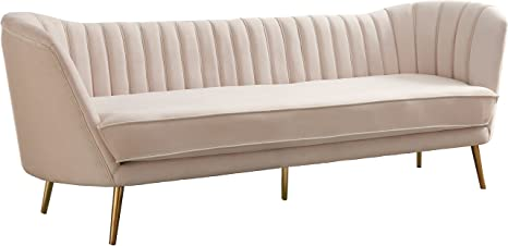 Fine Meridian Furniture 622Cream S Margo Collection Modern Contemporary Cream Velvet Upholstered Sofa With Rich Gold Stainless Steel Base 88 W X 30 D Lamtechconsult Wood Chair Design Ideas Lamtechconsultcom