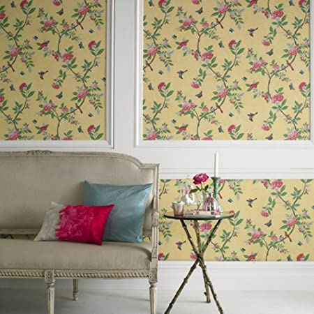Boutique Chinoiserie Vintage Birds Floral Yellow Wallpaper Was GBP23 Now GBP5