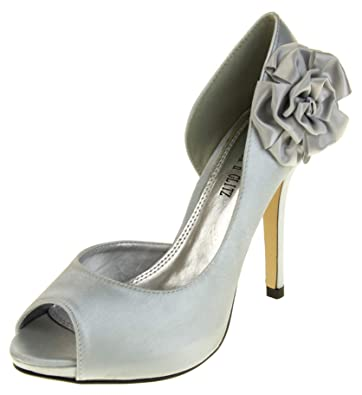 c1ebea6b6b9 Womens Satin Wedding High Heels Ladies Formal Party Bridal Bridesmaid Shoes  Silver Size 4
