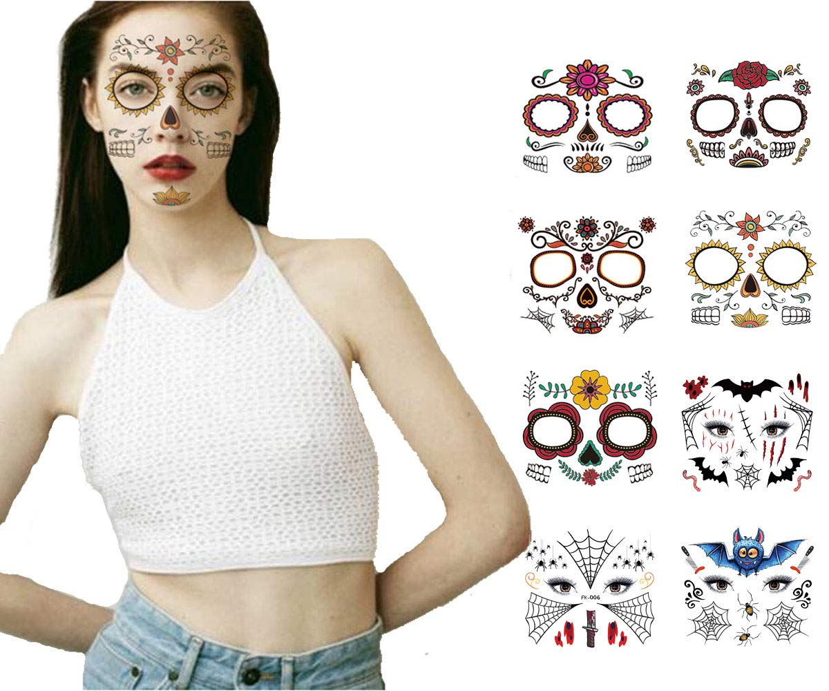 Day of the Dead Halloween Face Tattoos Face Stickers, Sugar Skull Face Tattoo Stickers Kit, Temporary Face Tattoo Stickers for Halloween, Masquerade and Parties (8sheets)
