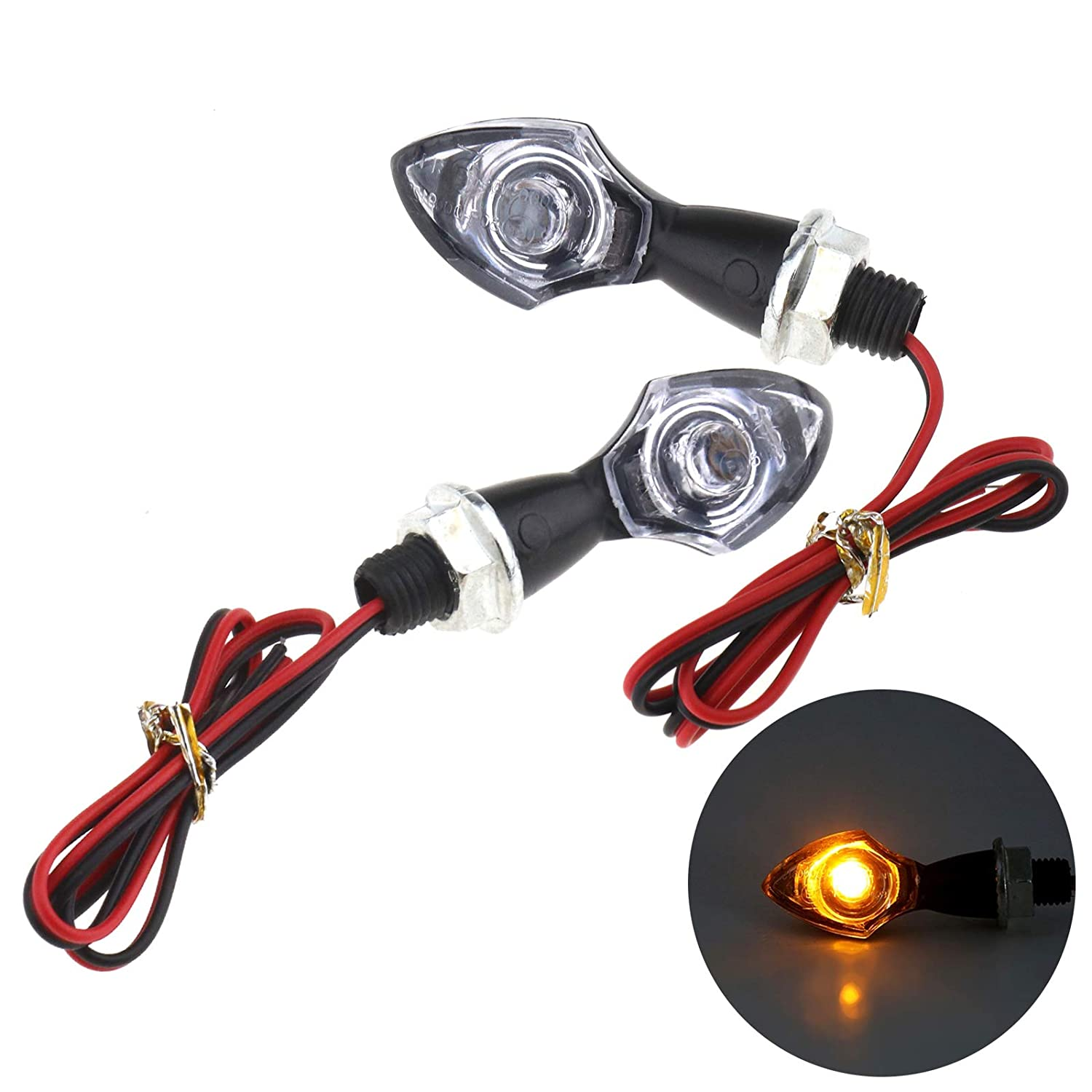 2 x Universal 12V Motorcycle LED Indicator Lights for Harley Cruiser Chopper Retro Custom Cruiser Cafe Racer ATV