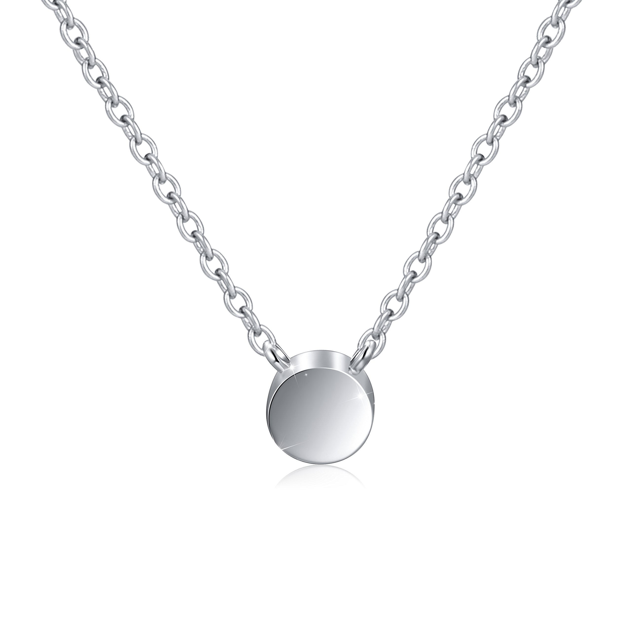 925 Sterling Silver Tiny Dot Necklace Round Circle Choker Chain Necklace for Women, Rolo Chain 16''