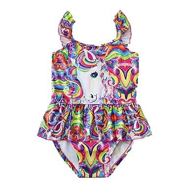 860339a636801 Girls' Swimsuit Cute One Piece Unicorn Rainbow Clouds Swimwear Ruffle Bathing  Suit (Multicolored,