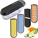 Kitchen IQ Container Grater with V-Etched Nonstick Blades & Ceramic Slicer