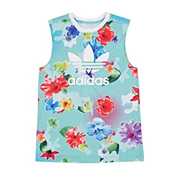 Adidas J Flwr L Tank Camiseta sin Mangas, Niñas, Azul (Multco/Blanco), 170: Amazon.es: Deportes y aire libre