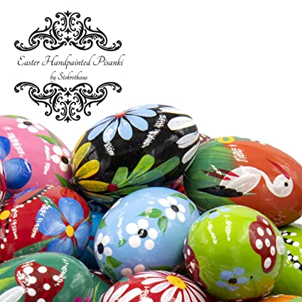 Amazon Com Stokrotkaus Easter Eggs Pysanky Decor Hand Painted