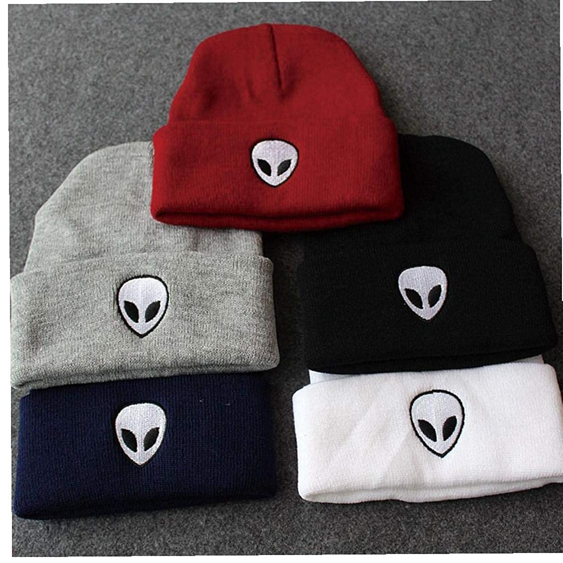 Femmes Hommes Alien Brod/é Hip Hop Knitting Hat Hiver Coton Chaud Acrylique Cap Tricot Chapeau De Cr/âne pour Femmes Et Hommes