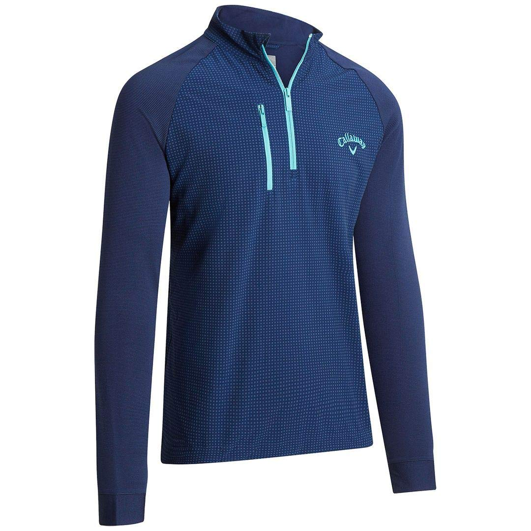 Callaway Golf 2019 Mens Printed Mixed Media 1/4 Zip Stretch Pullover Sweater Peacoat/Baltic Medium by Callaway