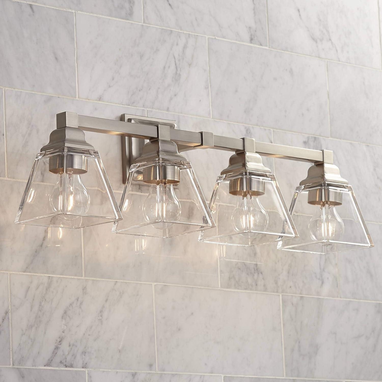 Mencino Modern Wall Mount Light Satin Nickel Silver Metal Hardwired 28