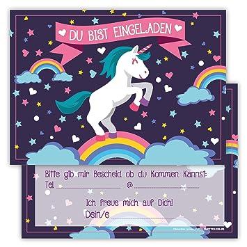 12 Lustige Einladungskarten Set Kindergeburtstag Einhorn Regenbogen Wolke  Sterne Herz Party Karten Rosa Pink Witzig Einladung