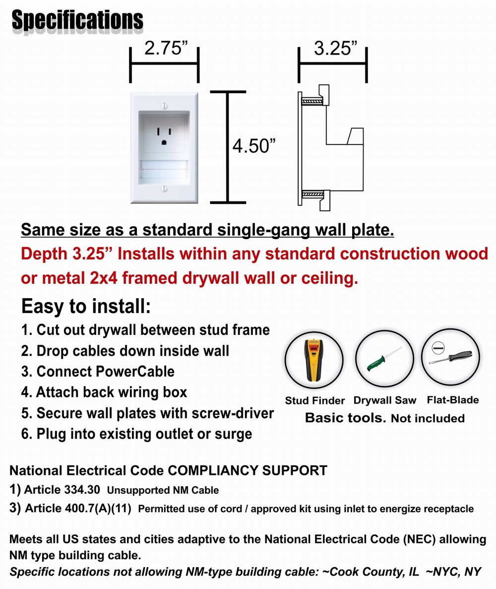 Powerbridge One Pro 6 Single Outlet Professional Grade Recessed In Nec Wiring Standards Diagram Wall Cable Management System For Mounted Flat Screen Led Lcd And Plasma Tvs