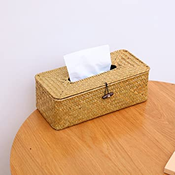 Shelfhx Caja de Libro de Algas Marinas Tejidas a Mano. Soporte de Toalla de Papel
