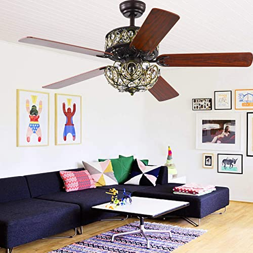 52 In Retro Ceiling Fans with Lights, Double Layer Crystal Hollow Carving Ceiling Fans Chandelier, Large Classical Walnut Blade Fandelier Lights for Home Living Room Bedroom – 3 Speed Remote Control