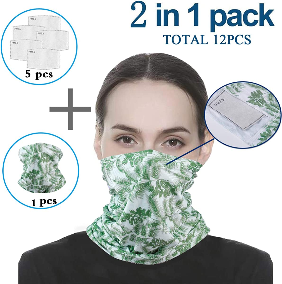 Scarf Bandanas Neck Gaiter with Safety Filters Multi-purpose Face Cover For Outdoors