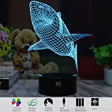 Huiyuan 3d Night Lamp Colorful Shark Shape Touch Control Light 7 Colors Change USB LED for Desk Table with Multicolored USB Powered Home Decoration Best Gift for Valentine's Day
