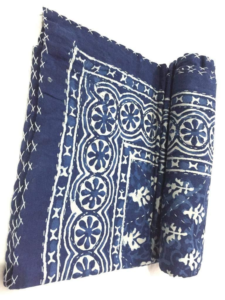 Indigo Blue Print Kantha Blanket Reversible Quilt 100/% Bedspread Organic Cotton