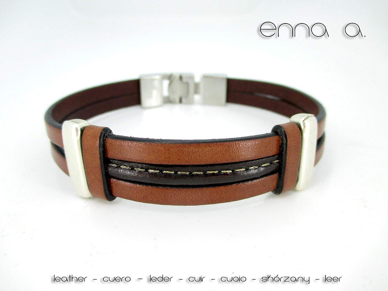 Pulsera cuero marrón, pulseras hombre, brazaletes de cuero, regalos cumpleaños, accesorios hombre, accesorios de cuero, pulsera de moda