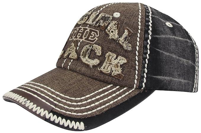 79b53b019 Men Distressed Vintage Denim Dry Baseball Leather Snapback Trucker ...