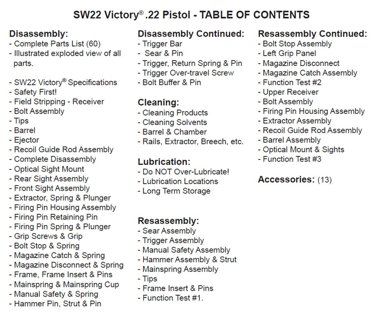 Victory Parts Diagram Web About Wiring 2011 Vision Sw22 Pistol Gun Guides Disassembly Cleaning Rh Amazon Com Vegas