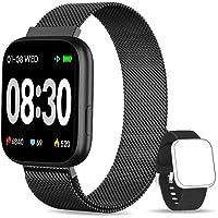 YUMIKOO Smartwatch, 1.4 Inch Reloj Inteligente IP67 con Pulsómetro Presión Arterial, Monitor de Sueño Podómetro Contador de Caloría, Smartwatch Mujer Reloj Inteligente para Hombre Mujer Niños