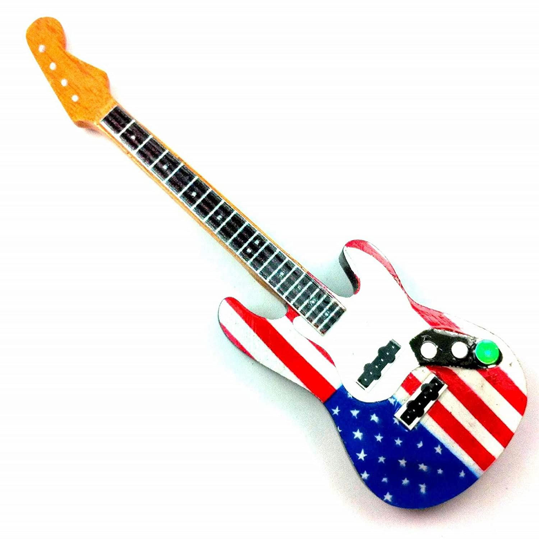 Magnete Frigo in legno - Chitarra - USA Flag - Stratocaster Eurasia1
