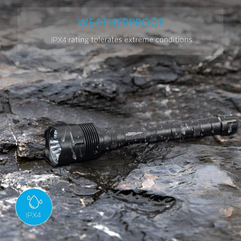 J18 s/úper brillante de 8000 l/úmenes resistente al agua 5 modos de luz Antorcha t/áctica grande de 2X o 3X 18650 26650 Bater/ía recargable TrustFire Linterna LED TrustFire 18650 bater/ía no incluida