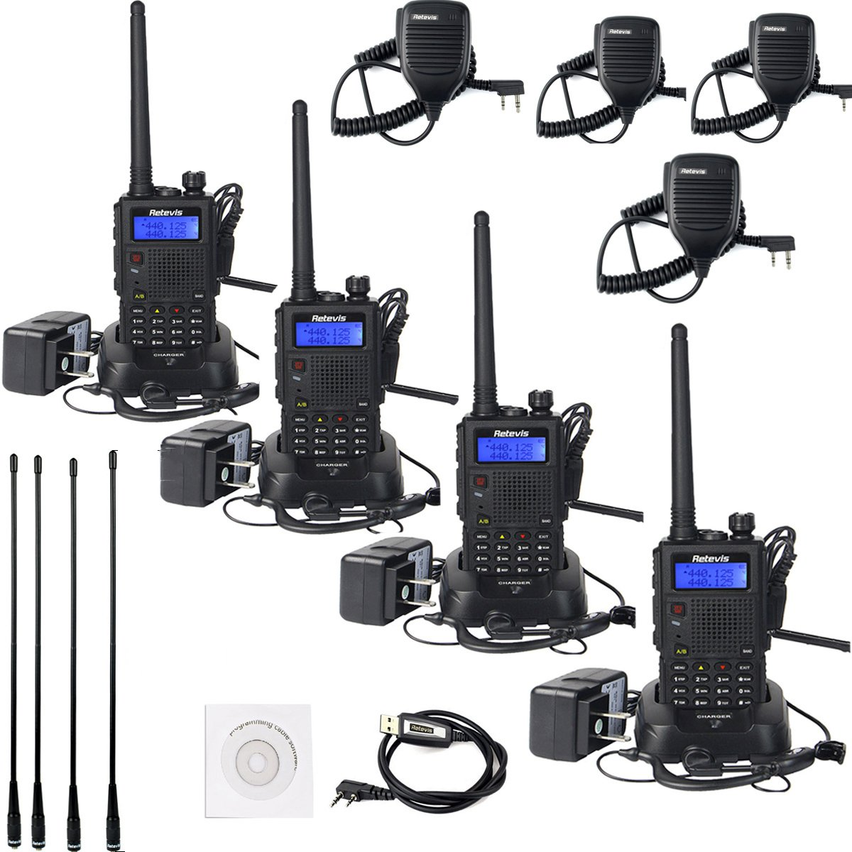 Retevis RT5 Walkie Talkies VHF/UHF 136-174/400-520MHz Dual Band Scan VOX FM Ham Radio (4 Pack) with Full Parts