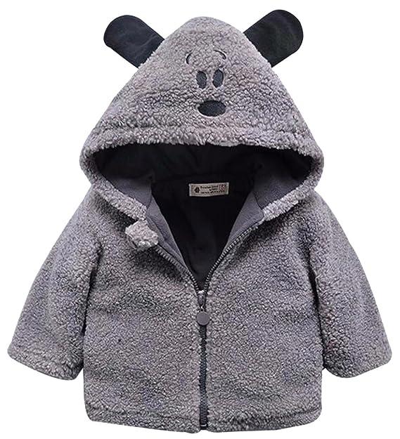 f8277ea52 Amazon.com  Toddler Boys Girls Cartoon Ear Hooded Fleece Windproof ...