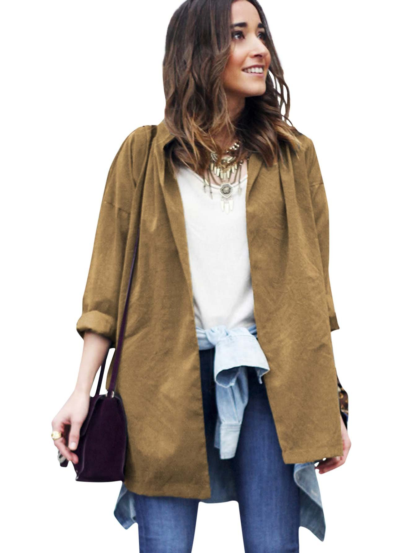 Romwe Women's Workout Slit Side Oversized Coat Lightweight Long Sleeve Collar Wrap Jacket Brown M