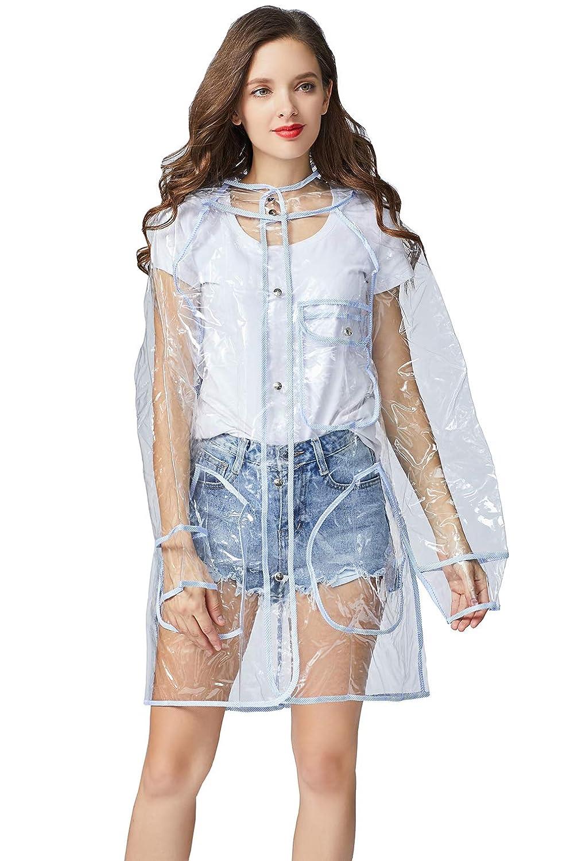 Freesmily Transparent Raincoat for Women Fashion EVA Waterproof Rain Poncho with Hood XL)