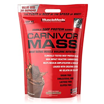 3016b2ed8 Image Unavailable. Image not available for. Color  MuscleMeds Carnivor Mass  Anabolic Beef Protein ...