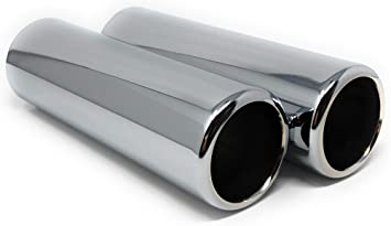 9 Length 2.25 Outlet 2 Piece Set of Pencil Cut Chrome Exhaust Tips 2.5 Inlet