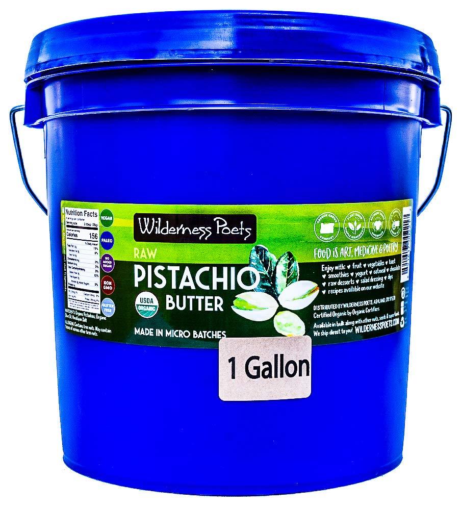 Wilderness Poets Pistachio Butter - Organic & Raw - Bulk Pistachio Nut Butter - 1 Gallon Pail - 8.5 lb (136 oz)
