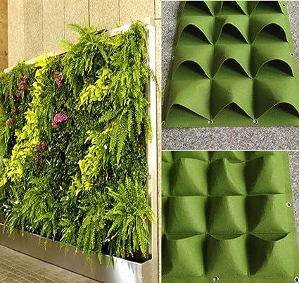 Charming 4 49 Pockets Outdoor Indoor Wall Herbs Vertical Garden Hanging Planter Bag  Green (8
