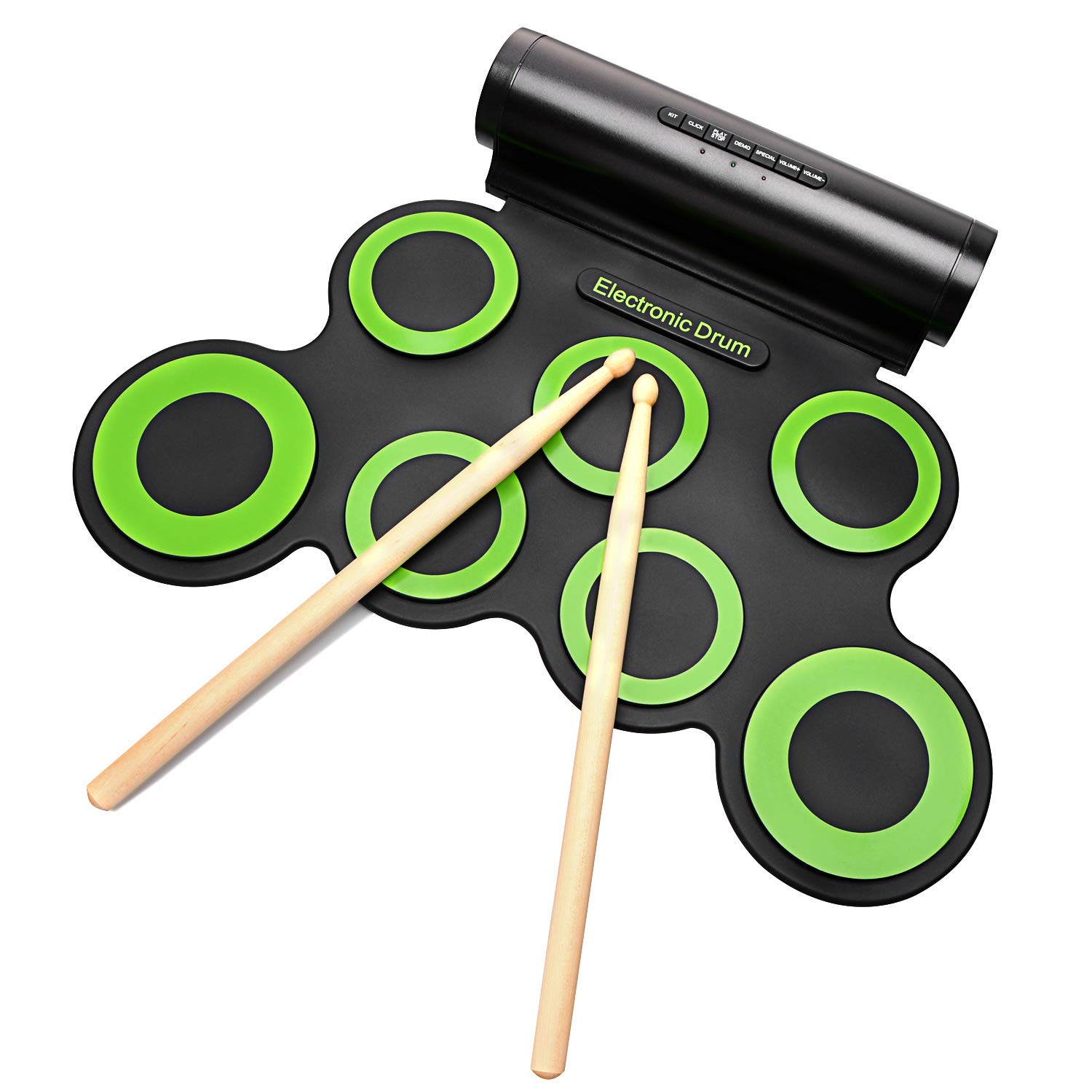Electronic Drum Set Portable Electronic Drum Pad - Built-In Speaker (DC Powered) - Digital Roll-Up Touch 7 Labeled Pads and 2 Foot Pedals Midi Drum Up to 10H Playing Time Holiday for Kids Children Beginners