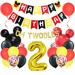 Mickey Themed 2nd Birthday Decorations - Minnie Oh Twodles Banner Garland Mickey Head Balloons for Birthday Party Supplies