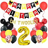Mickey Themed 2nd Birthday Decorations - Minnie Oh Twodles Banner Garland Mickey Head Balloons for Birthday Party…