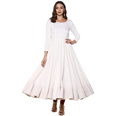 06efb2aef78 Indian Virasat Women s Cotton Anarkali Kurta  Amazon.in  Clothing ...