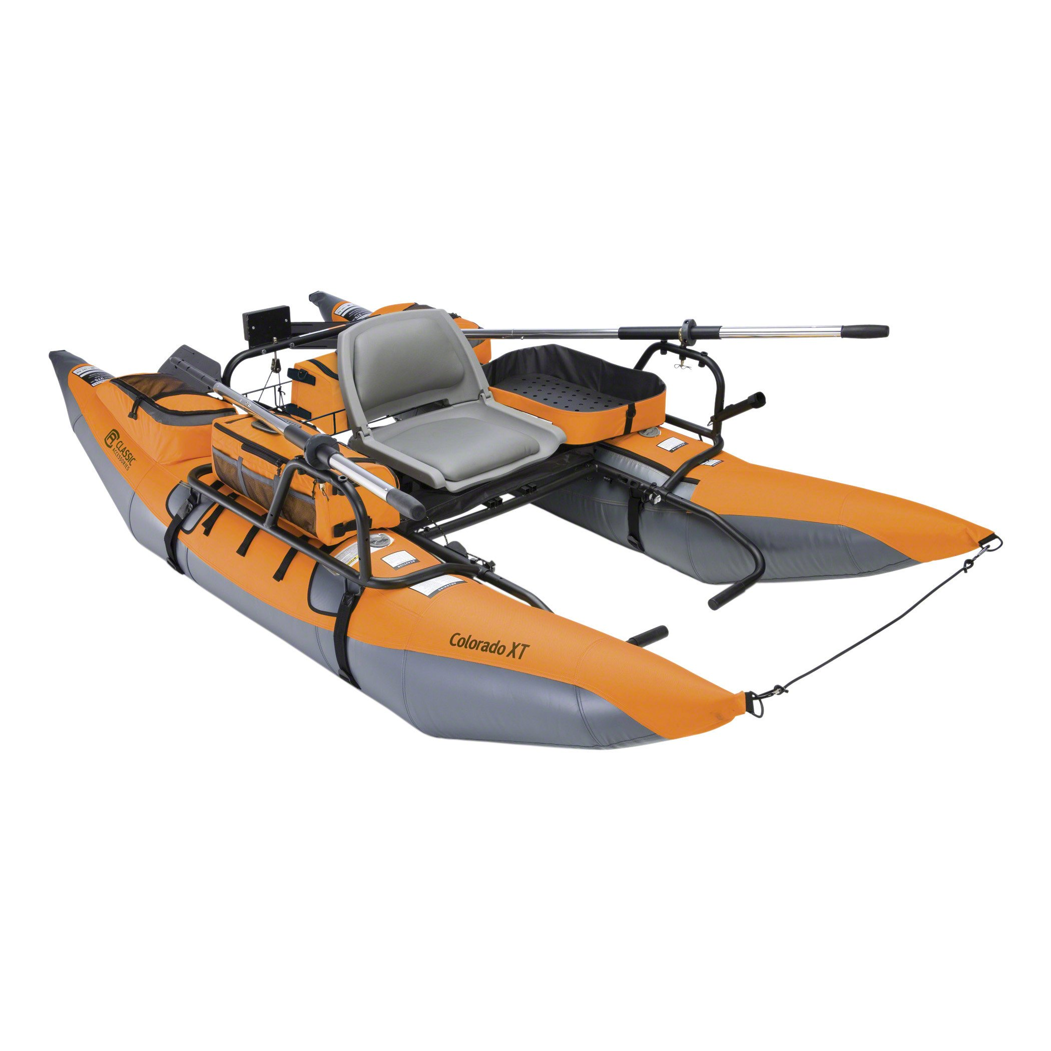 Classic Accessories Colorado XT Inflatable Fishing Pontoon Boat With Transport Wheel & Motor Mount, Pumpkin by Classic Accessories