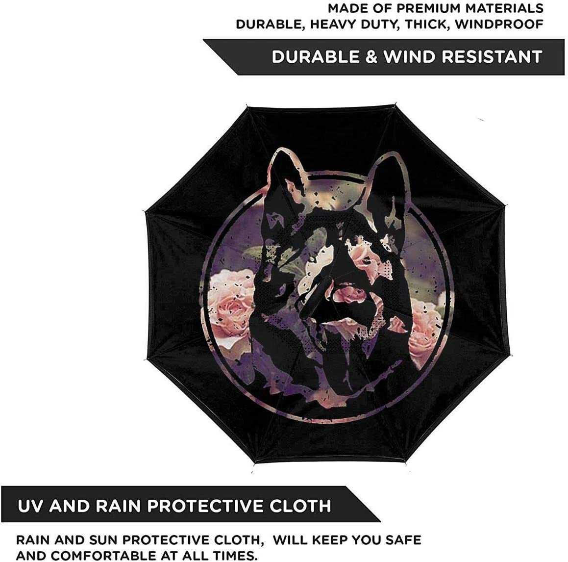 With C-Shaped Handle Windproof UV Protection Portable Reverse Umbrella Letterkenny Umbrella For Car Rain Outdoor