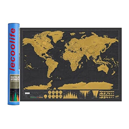 Amazon scratch off world map poster scratch off places you scratch off world map poster scratch off places you travel world wall map poster gumiabroncs Image collections