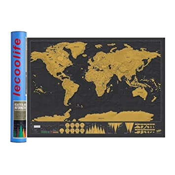 Amazon scratch off world map poster scratch off places you scratch off world map poster scratch off places you travel world wall map poster gumiabroncs Choice Image