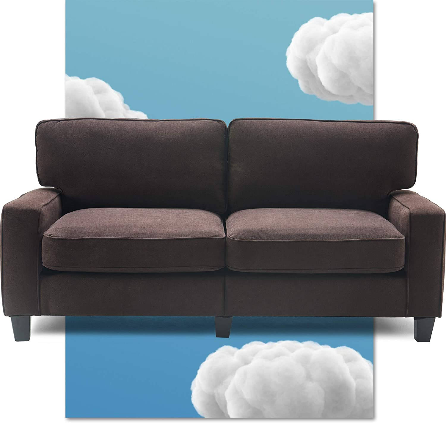 Serta Palisades Upholstered Sofas for Living Room Modern Design Couch, Straight Arms, Soft Fabric Upholstery, Tool-Free Assembly - 73