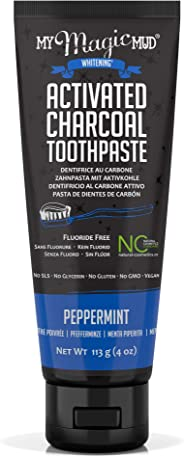 My Magic Mud - Activated Charcoal Toothpaste, Natural, Whitening, Detoxifying, Peppermint, 4 Ounce (Pack of 1)