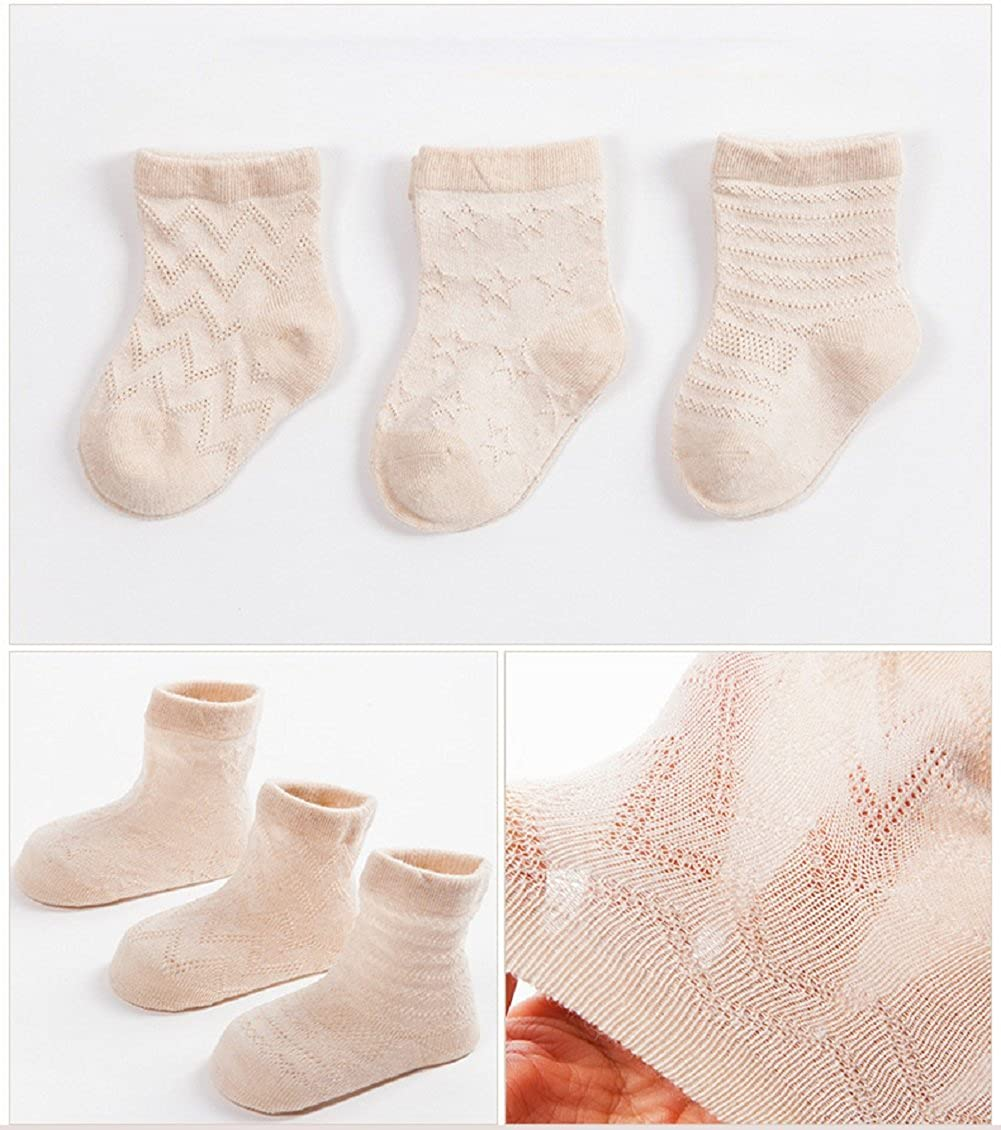 DEBAIJIA 3 Paires Chaussettes B/éb/é Fille Gar/çon 0-3 Ans en Coton Biologique Respirant Enfant Chaussette